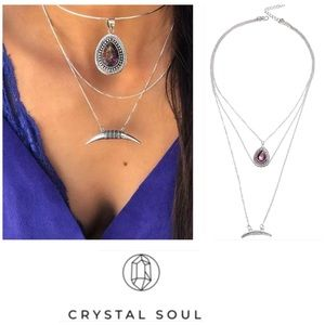 Jewelry - 🎉Multilayer Purple Moon Charm Necklace